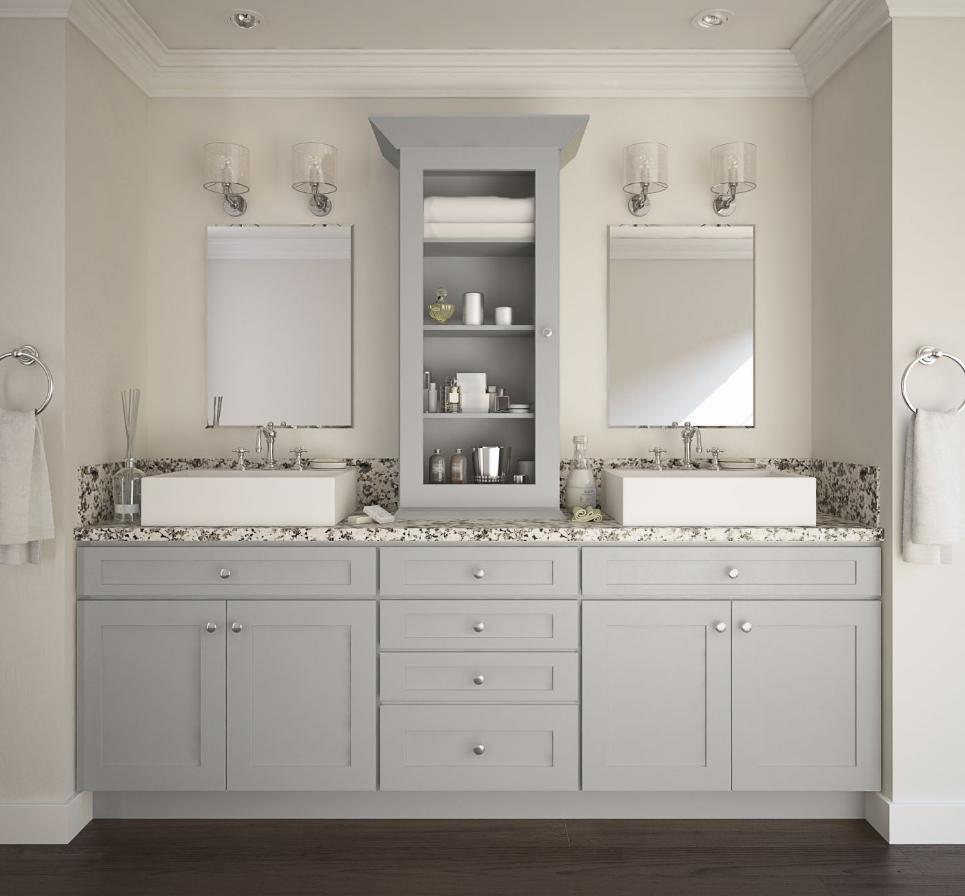 Society Shaker Dove Gray PreAssembled Bathroom Vanities