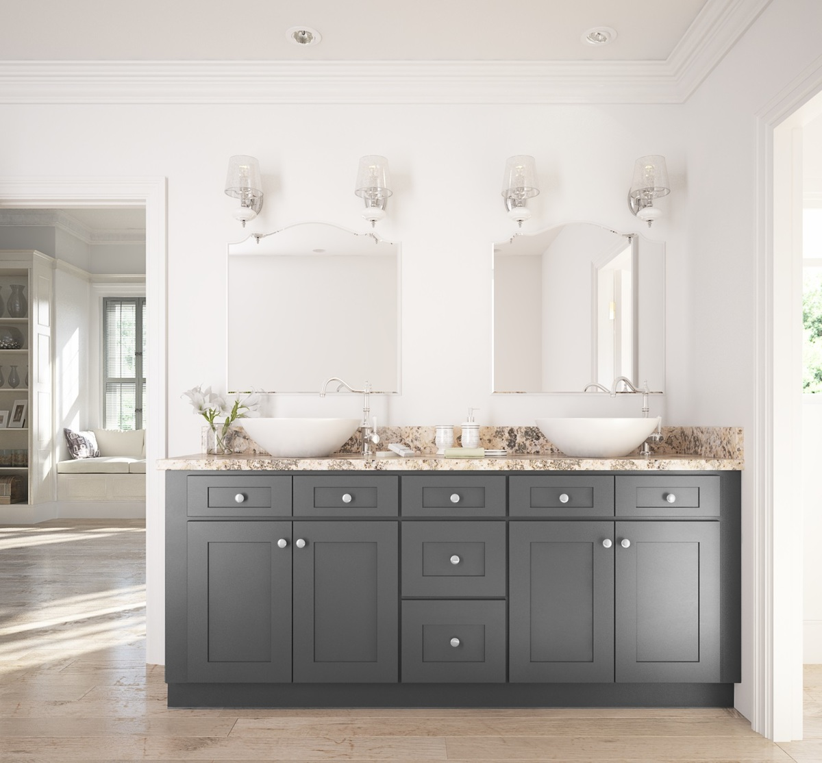 Graphite Grey Shaker  Ready to Assemble Bathroom Vanities  Cabinets