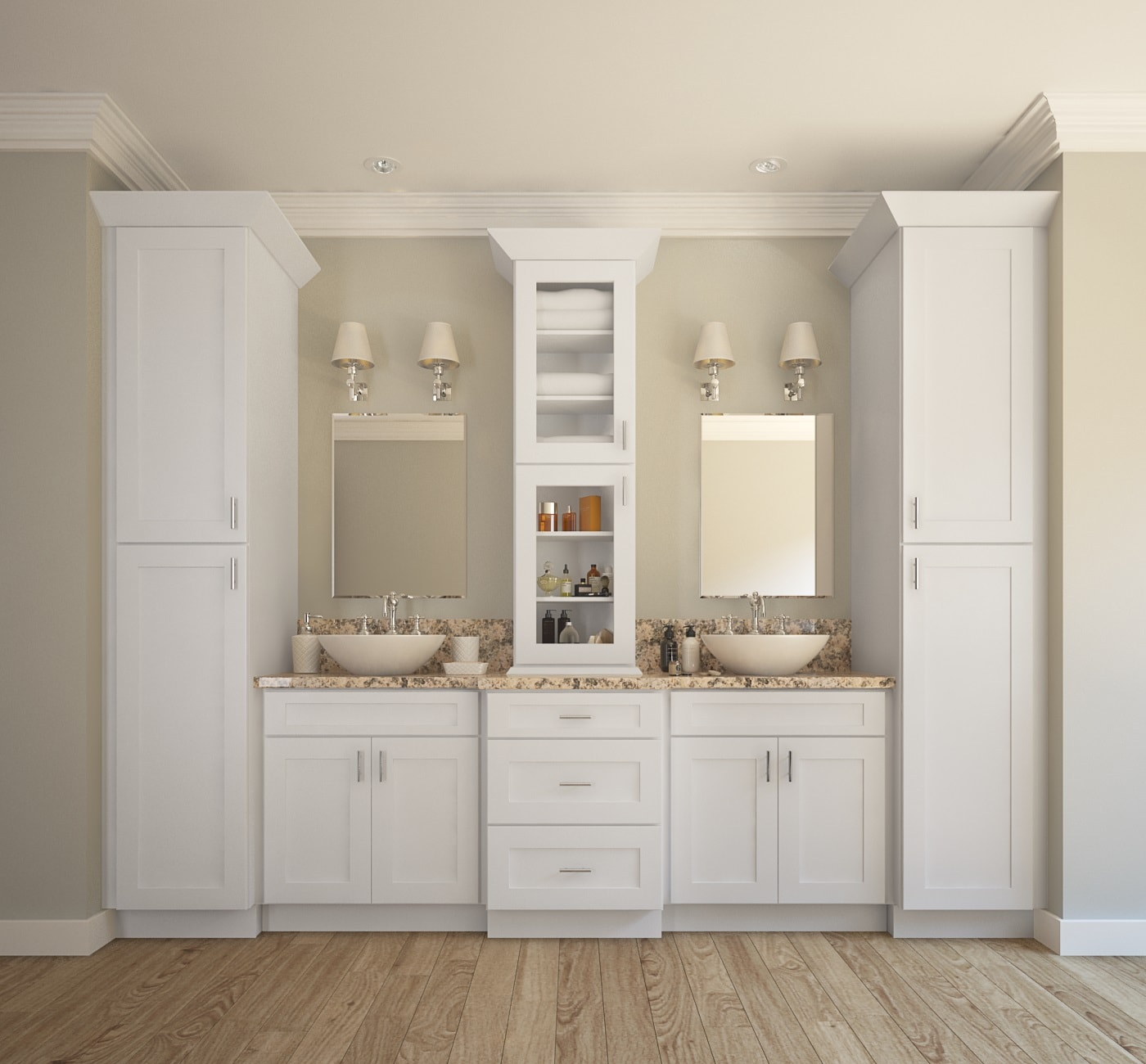 Aspen White Shaker  Ready to Assemble Bathroom Vanities  Cabinets