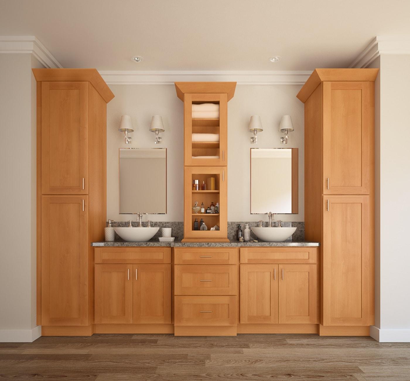 Shaker Honey PreAssembled Bathroom Vanities