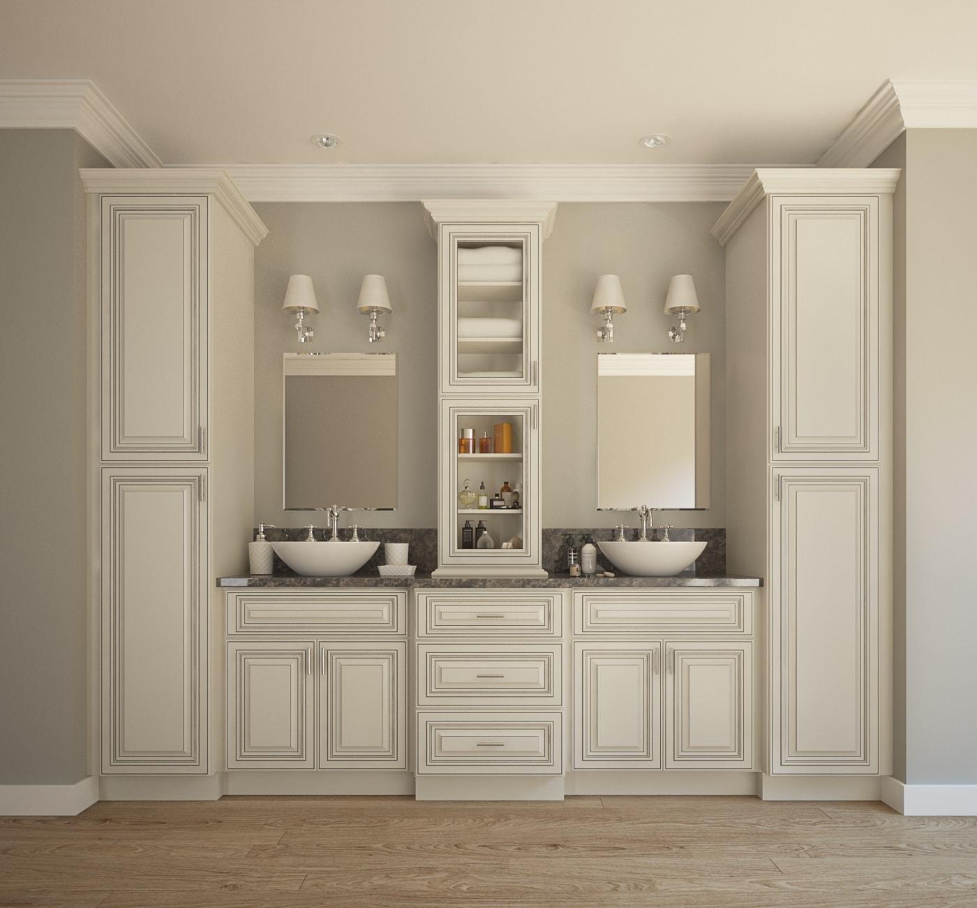 Signature Vanilla Glaze  PreAssembled Bathroom Vanities  Bathroom Vanities  Vanities