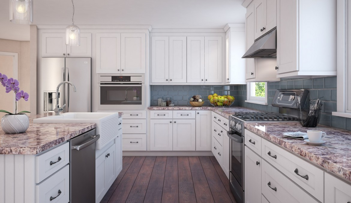 snow white kitchen cabinetry in inset Shaker style
