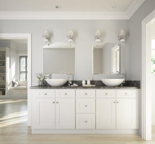 Brilliant White Shaker Ready To Assemble Bathroom Vanities Cabinets
