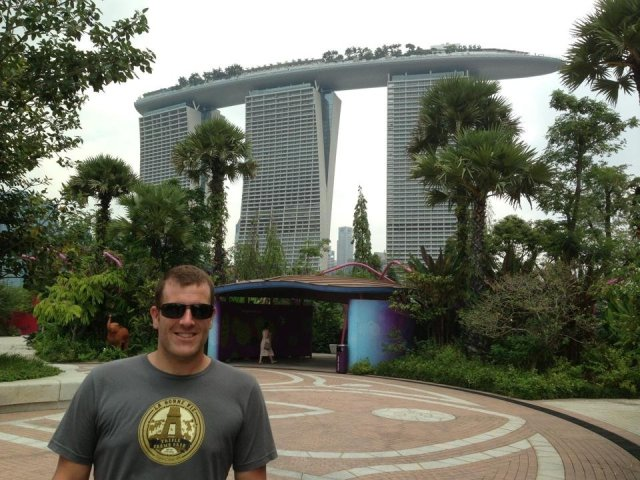 Michael, standing in front of the Marina Bay Sands Hotel in Singapore