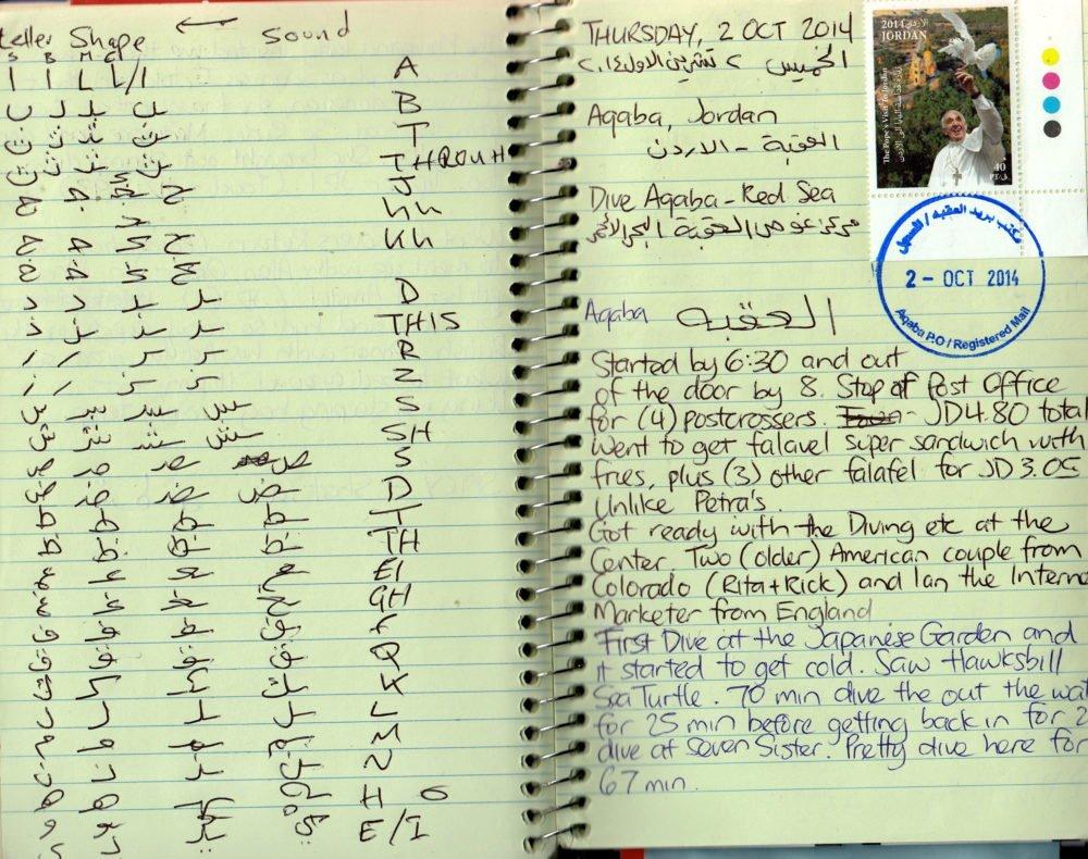 Travel journal - Arabic writing