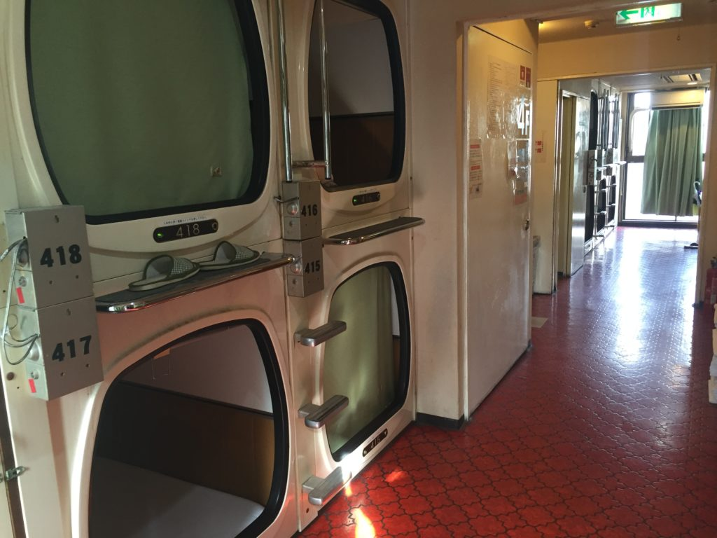 Japanese Capsule Hotel - pods stacked on top of each other