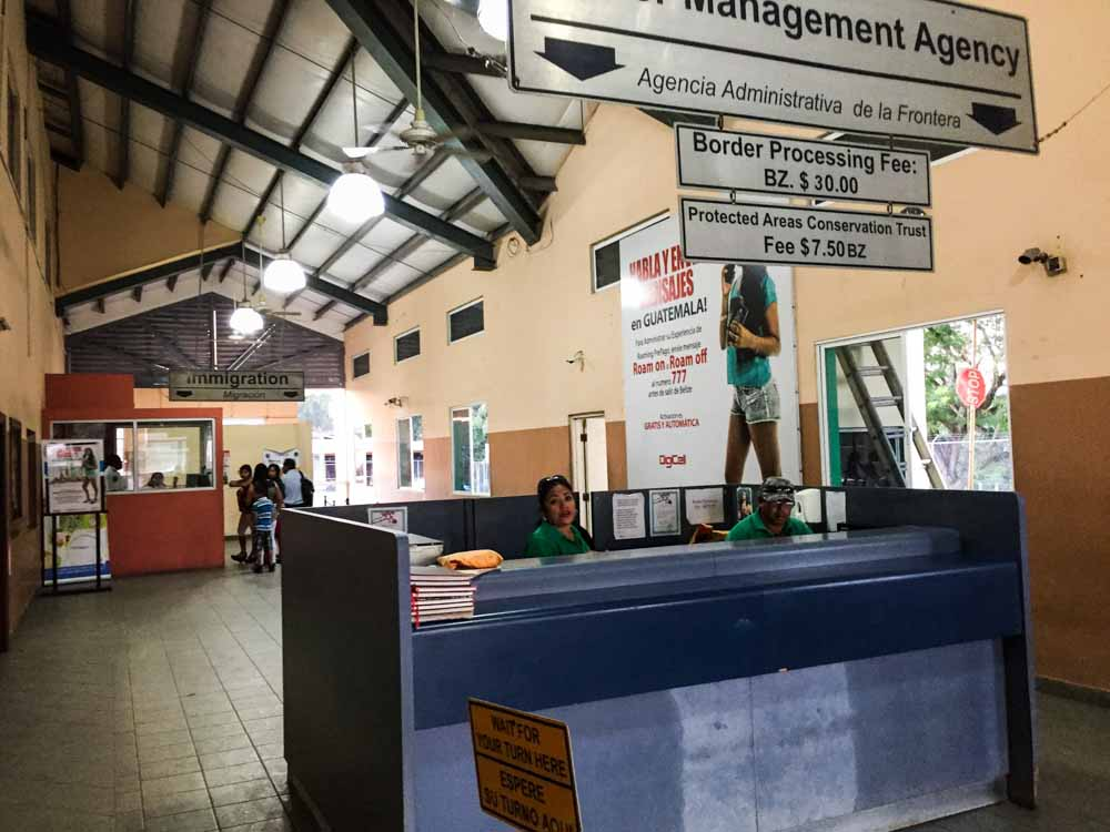 Inside the Belizean Immigration House, where you have to pay the departure fee and to get exit stamp.