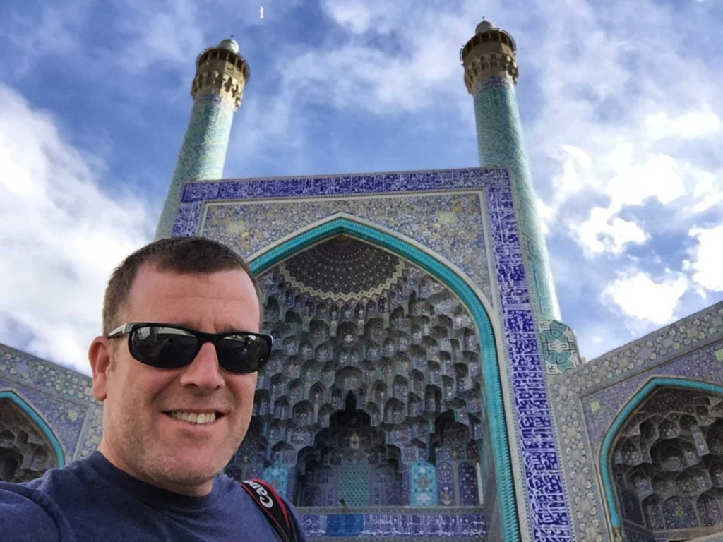 Michael and one of the mosques in Isfahan