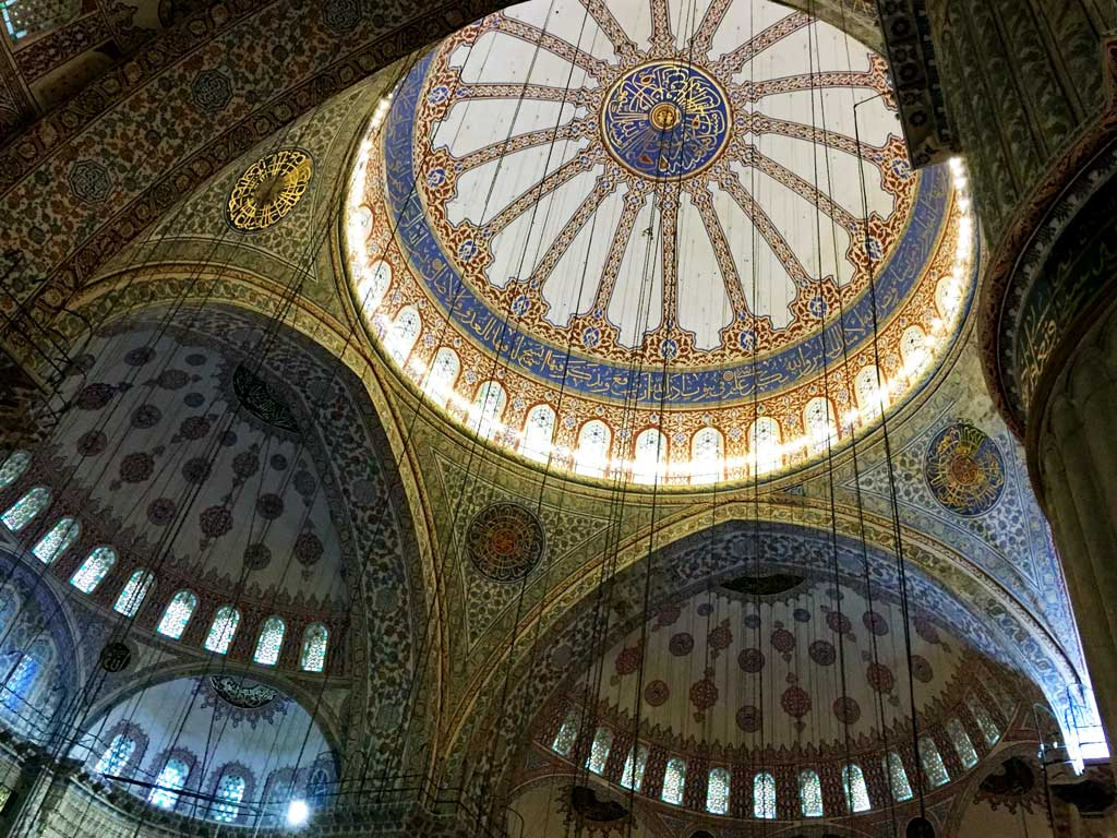 The calligraphy on the main dome Blue Mosque Istanbul