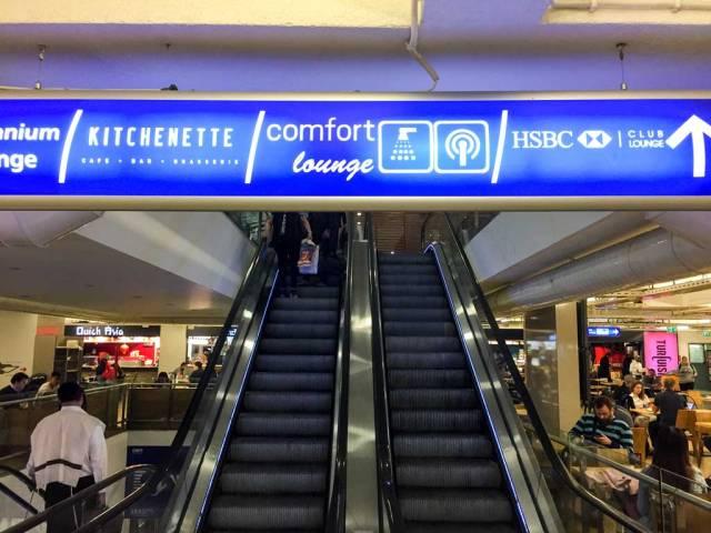 comfort airport lounge escalator