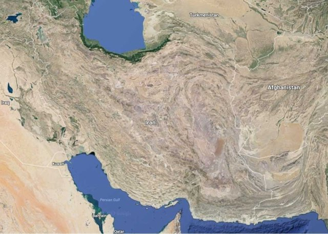 A map of Iran from Google Maps