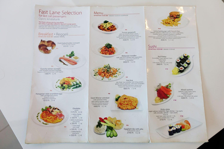 menzies aviation lounge budapest food menu