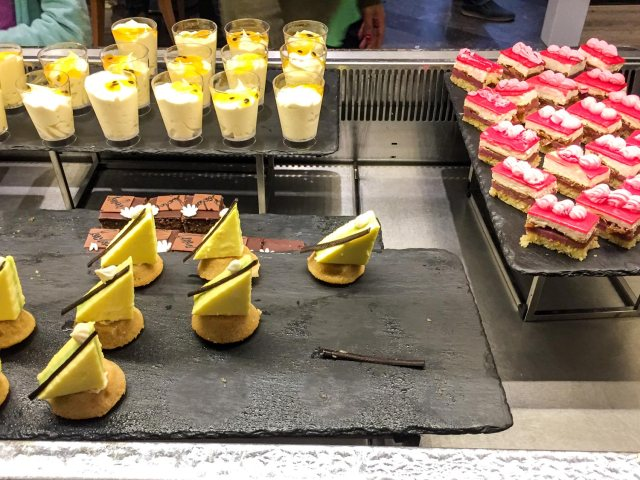 One of the dessert tables at GVK Airport Lounge Mumbai