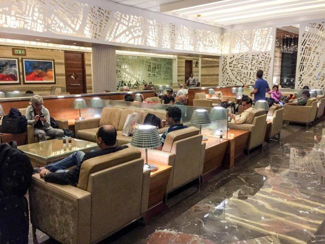 One of the several seating areas at GVK Airport Lounge Mumbai