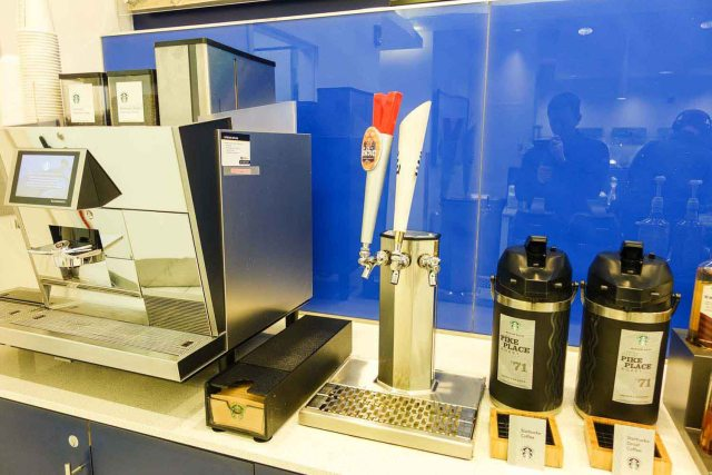 Delta Sky Club at Philadelphia Airport coffee machine and beer taps
