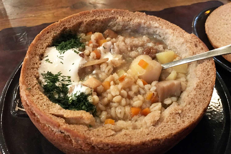 Belarus Food in Minsk Restaurants - Talaka soup