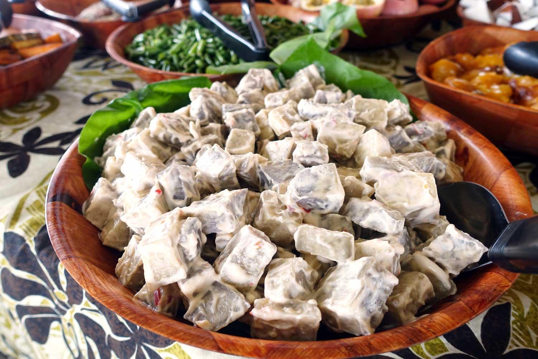 cook islands food vaka cruise taro salad