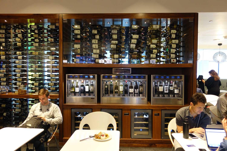 Centurion Lounge SFO wine tasting wall