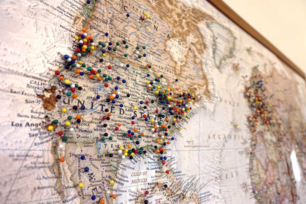 US Map with pins