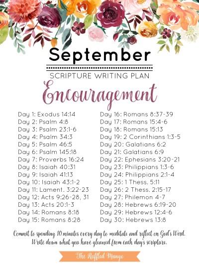 September Scripture Writing Plan: Encouragement