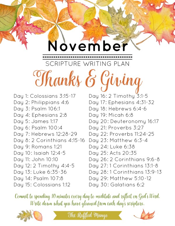 "We have yet another excellent list of scriptures that will help guide your study this month and get you into the ""thanking"" and ""giving"" spirit!"