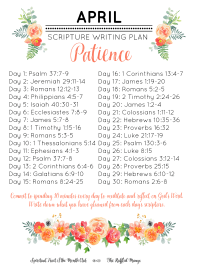 April Scripture Writing Plan: Patience