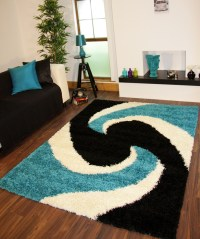 Modern Teal Blue Black Thick Easy Clean Shaggy Rugs ...