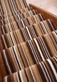 Lima Dark Brown Beige Modern Striped Wide Stair Carpet ...
