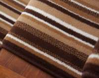 Lima Dark Brown Beige Modern Striped Wide Stair Carpet