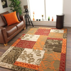 Orange Sofas Ebay Chaise Lounge Sofa Bed Toronto Cheap Warm Red Burnt Brown Cream Cosy Patchwork ...