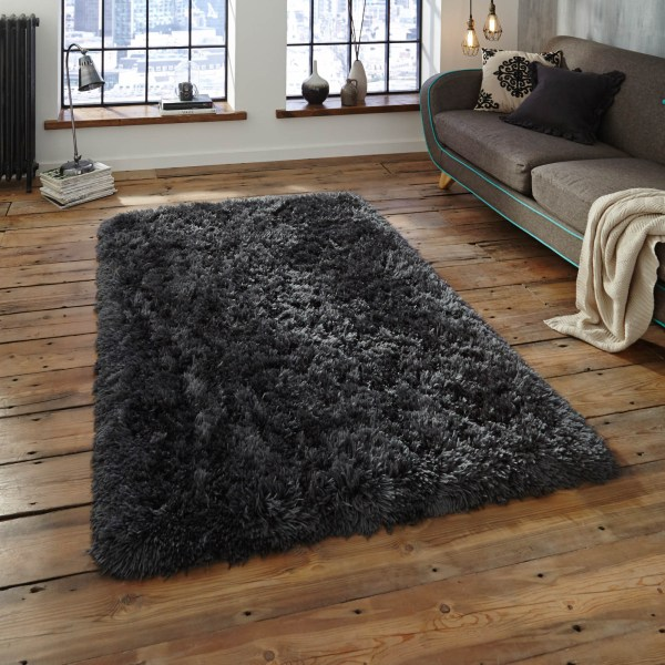 Polar Pl95 Shaggy Rugs In Charcoal - Free Uk Delivery