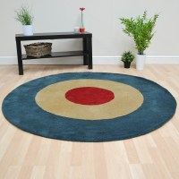 Roundel Circular Wool Rugs in Red Blue and Beige