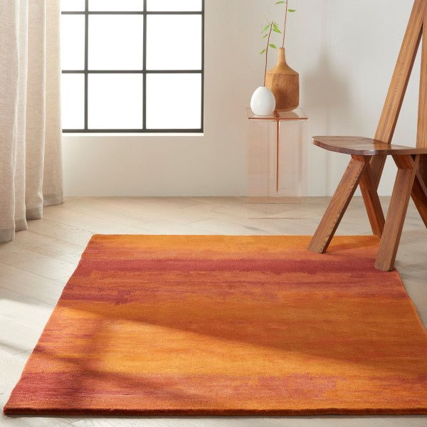 Calvin Klein Luster Wash Rugs Sw01 Rust - Free Uk Delivery