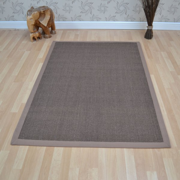 Sisal Rugs In Mocha With Taupe Border - Free Uk Delivery