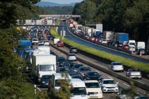 31264783 - traffic jam on motorway due to road works