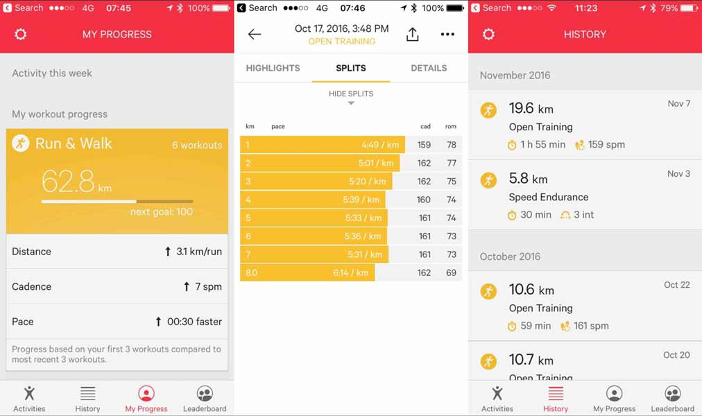 Review your workouts and progress with the Moov Now App