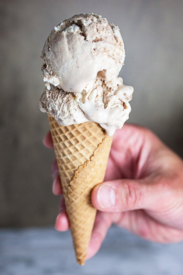 No Churn Peanut Butter Cup Ice Cream in cone