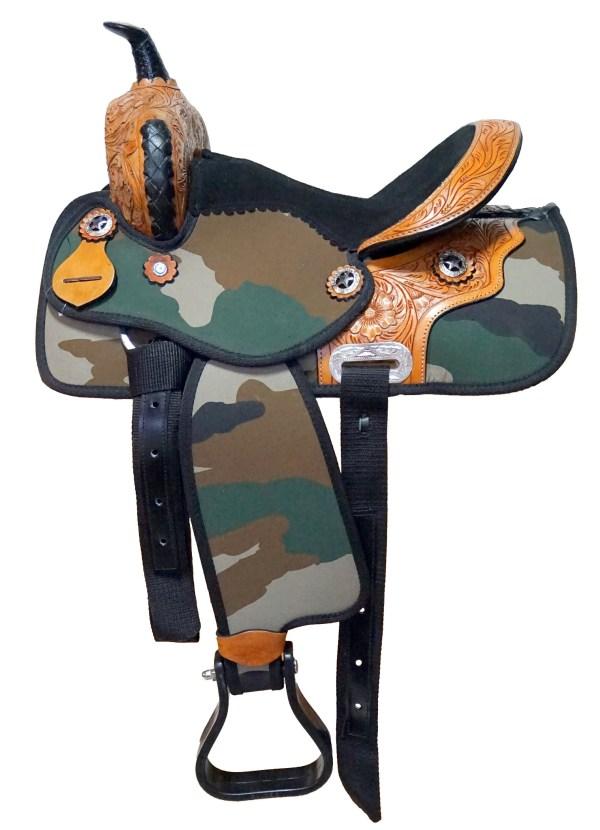 Children Camo Print Synthetic Western Saddle Set Horse