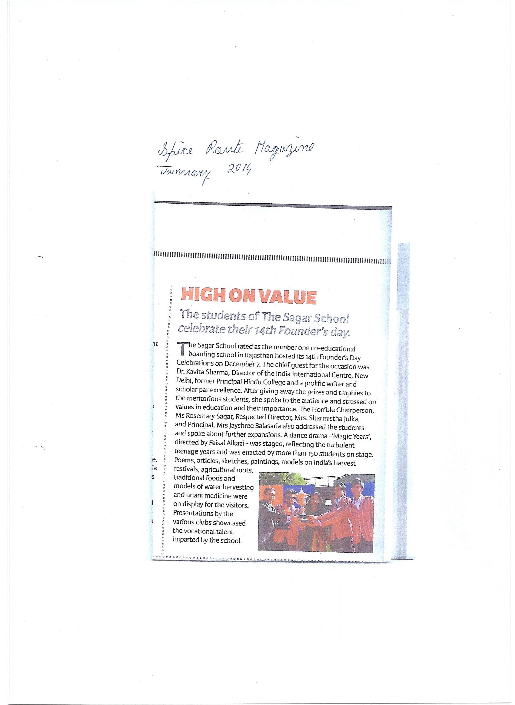 The Sagar School News Press Releases