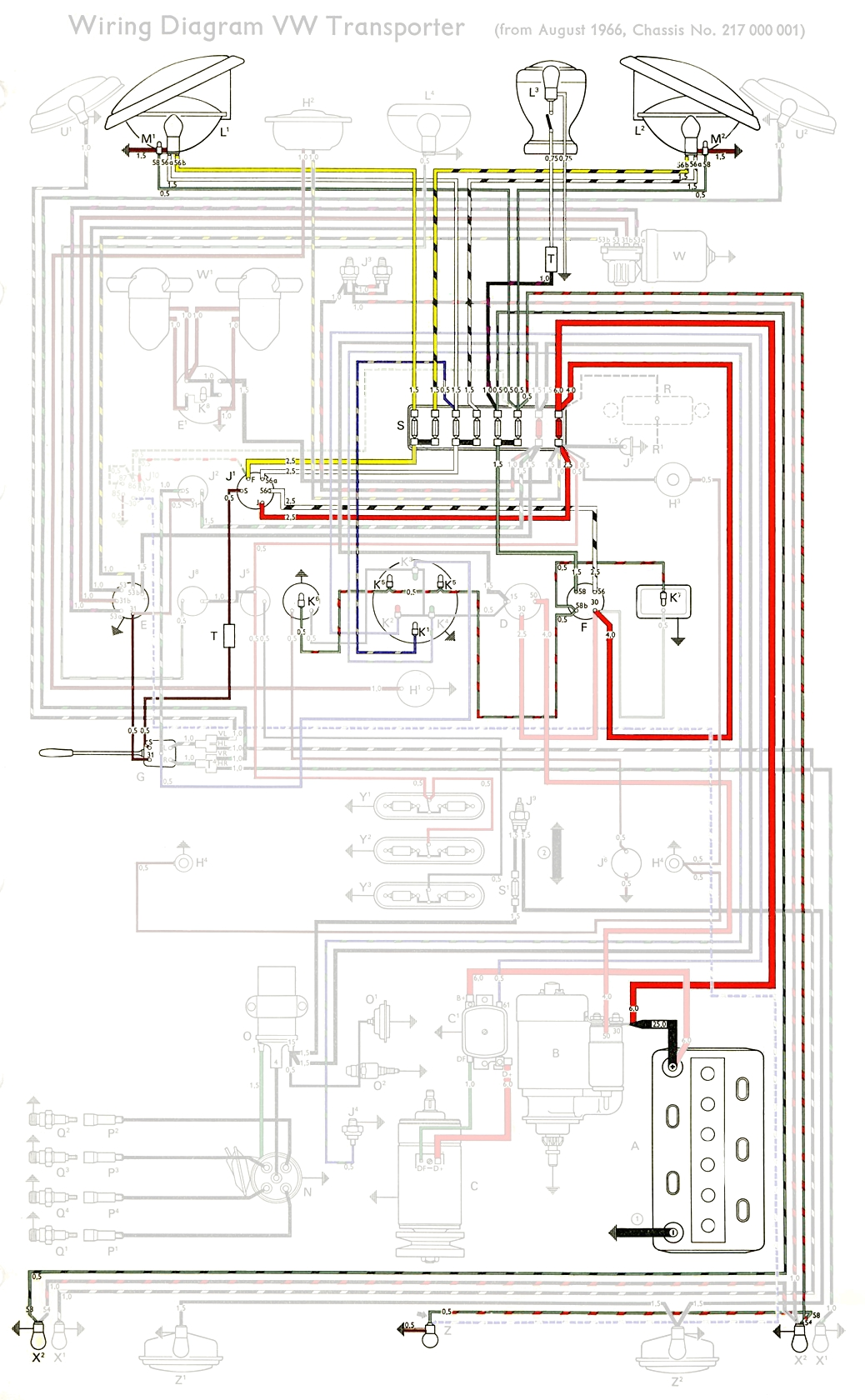 1966 vw bus wiring diagram home phone australia thesamba.com :: type 2 diagrams