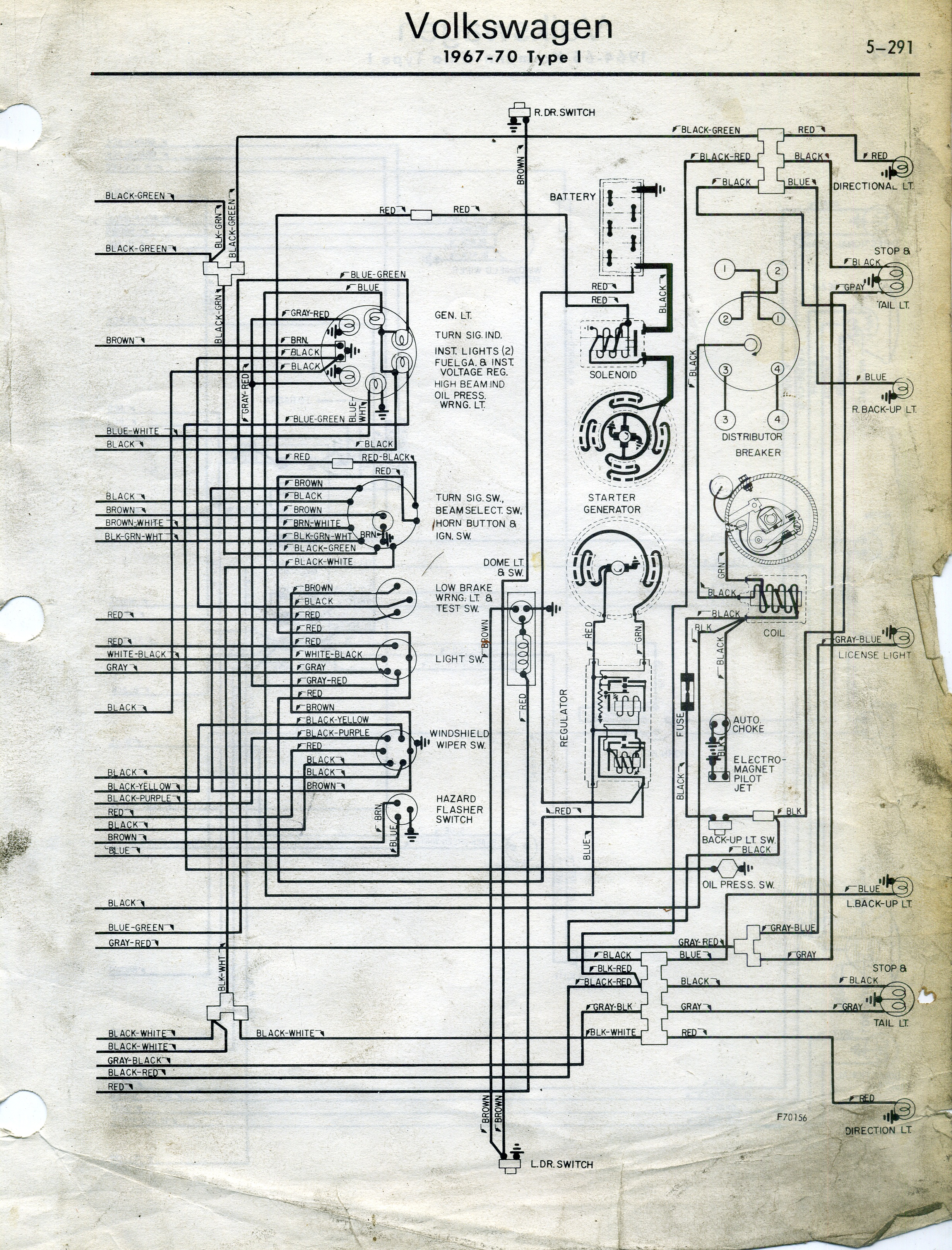 1968 vw type 1 wiring diagram 3000gt stereo thesamba diagrams