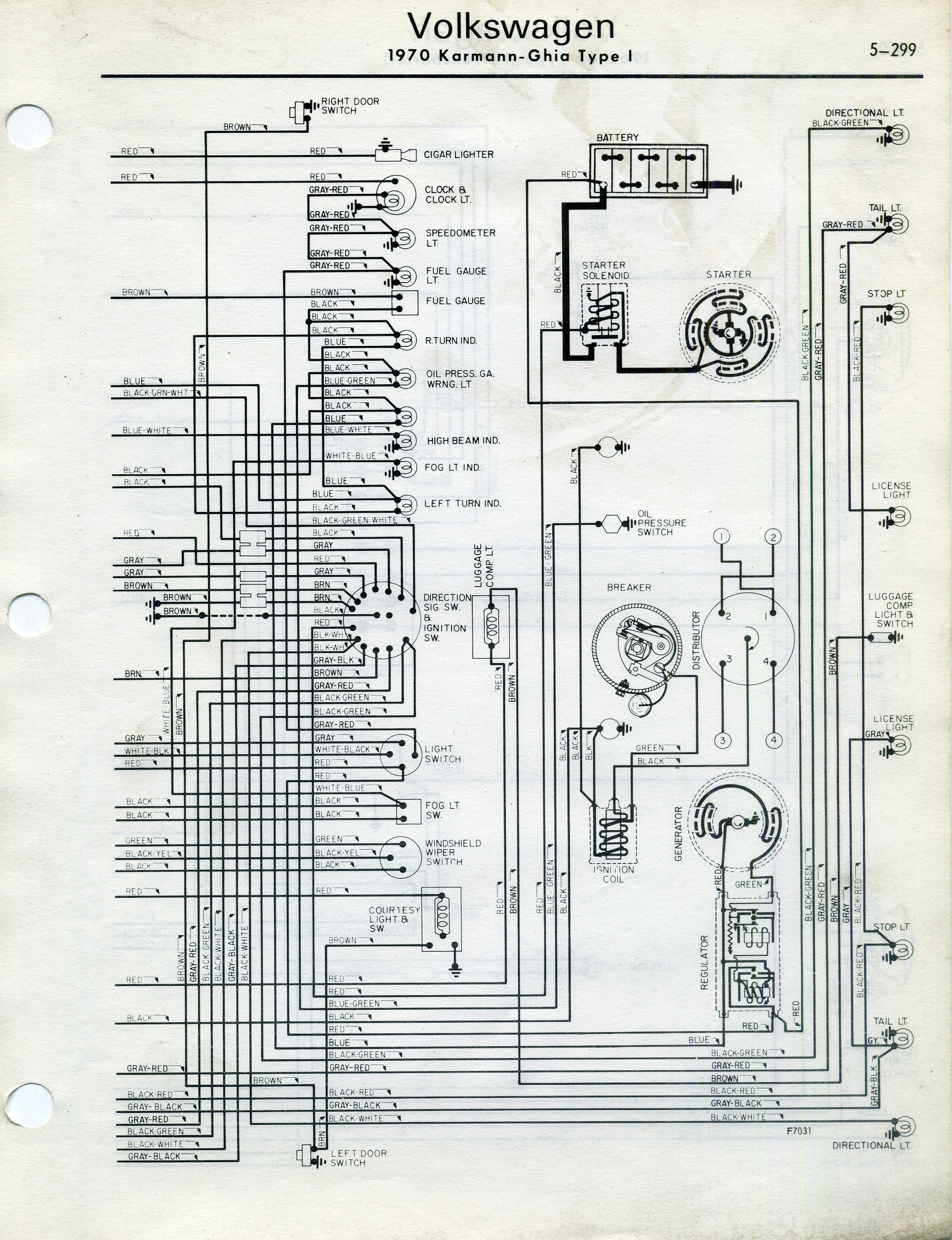 1966 Wiring Diagram Thesamba Com Karmann Ghia Wiring Diagrams