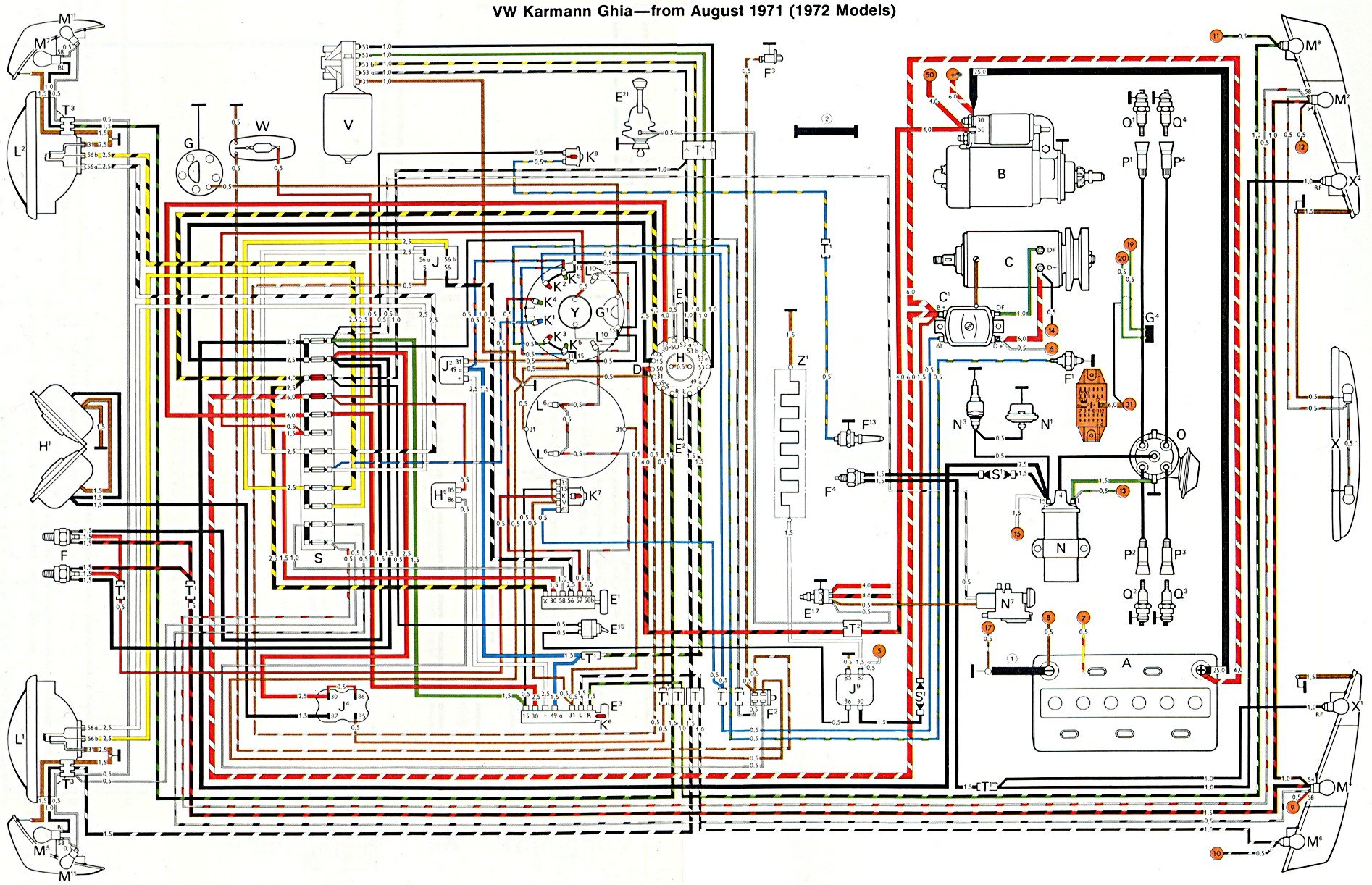 hight resolution of thesamba com karmann ghia wiring diagrams 2005 jetta alternator wiring vw alternator wiring with realy