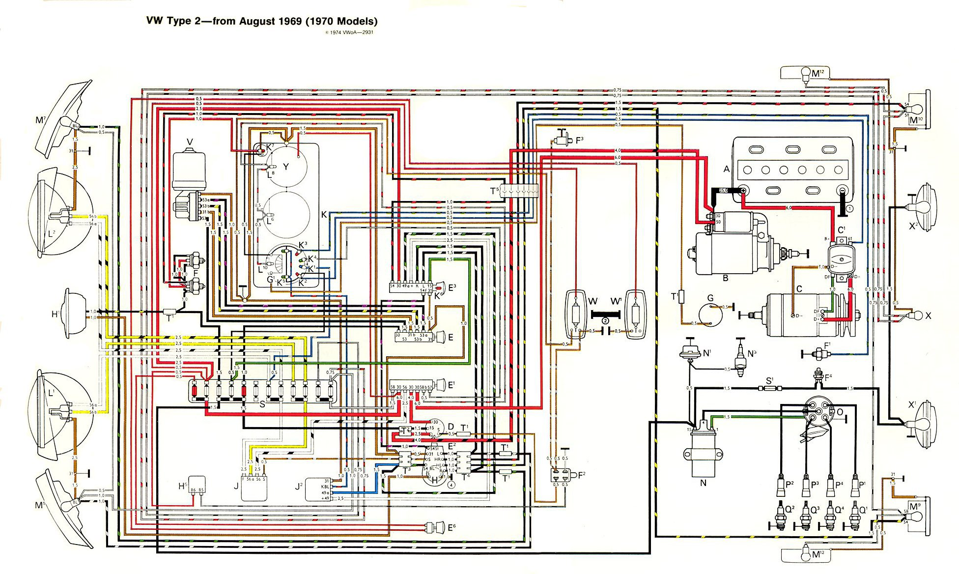 1972 vw bus wiring diagram g l legacy thesamba type 2 diagrams