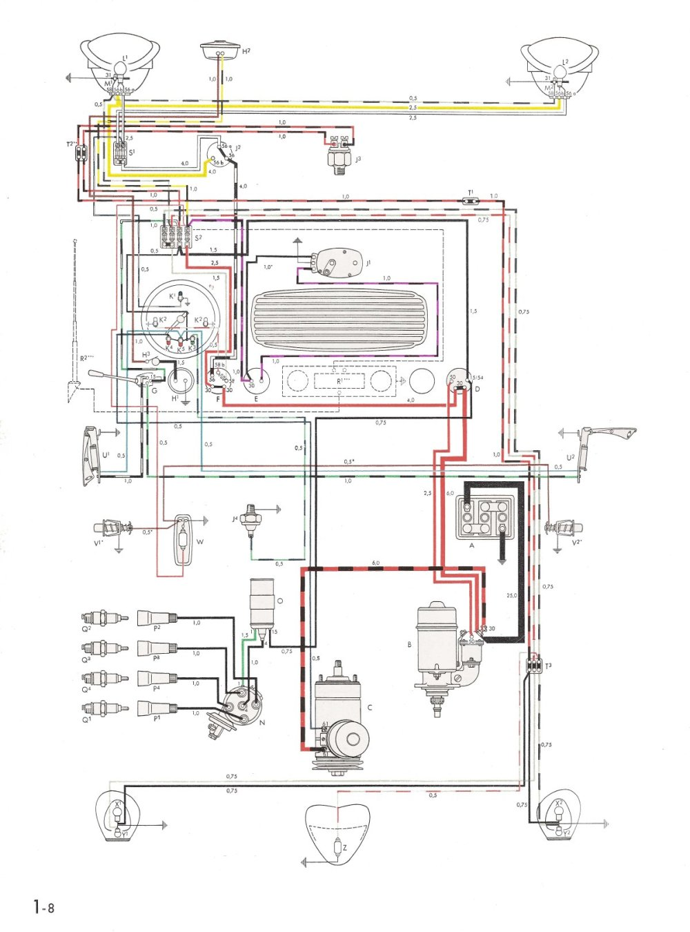 medium resolution of thesamba com type 1 wiring diagrams vw beetle generator wiring diagram vw beetle alternator wiring scematic