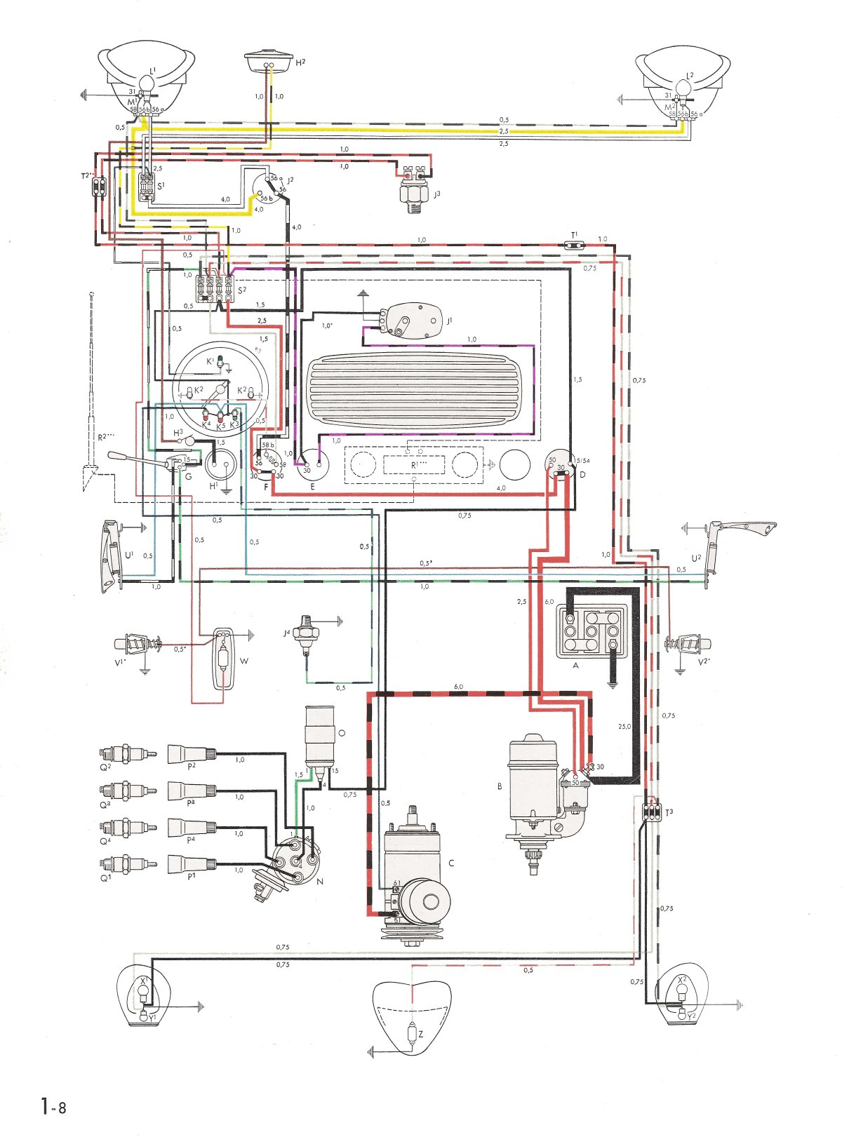 hight resolution of thesamba com type 1 wiring diagrams vw beetle generator wiring diagram vw beetle alternator wiring scematic