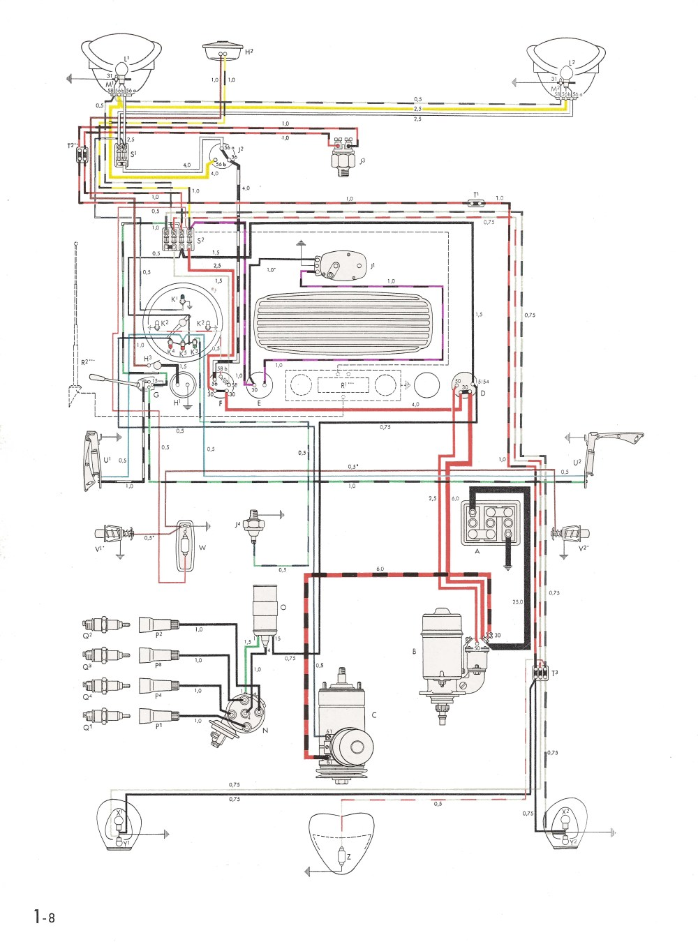 medium resolution of thesamba com type 1 wiring diagrams70 vw bug wiring diagram 4