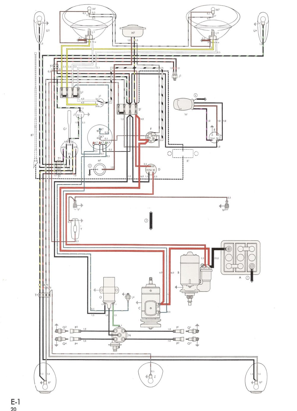 medium resolution of thesamba com type 1 wiring diagrams 1600cc vw engine diagram 1972 vw wiring diagram