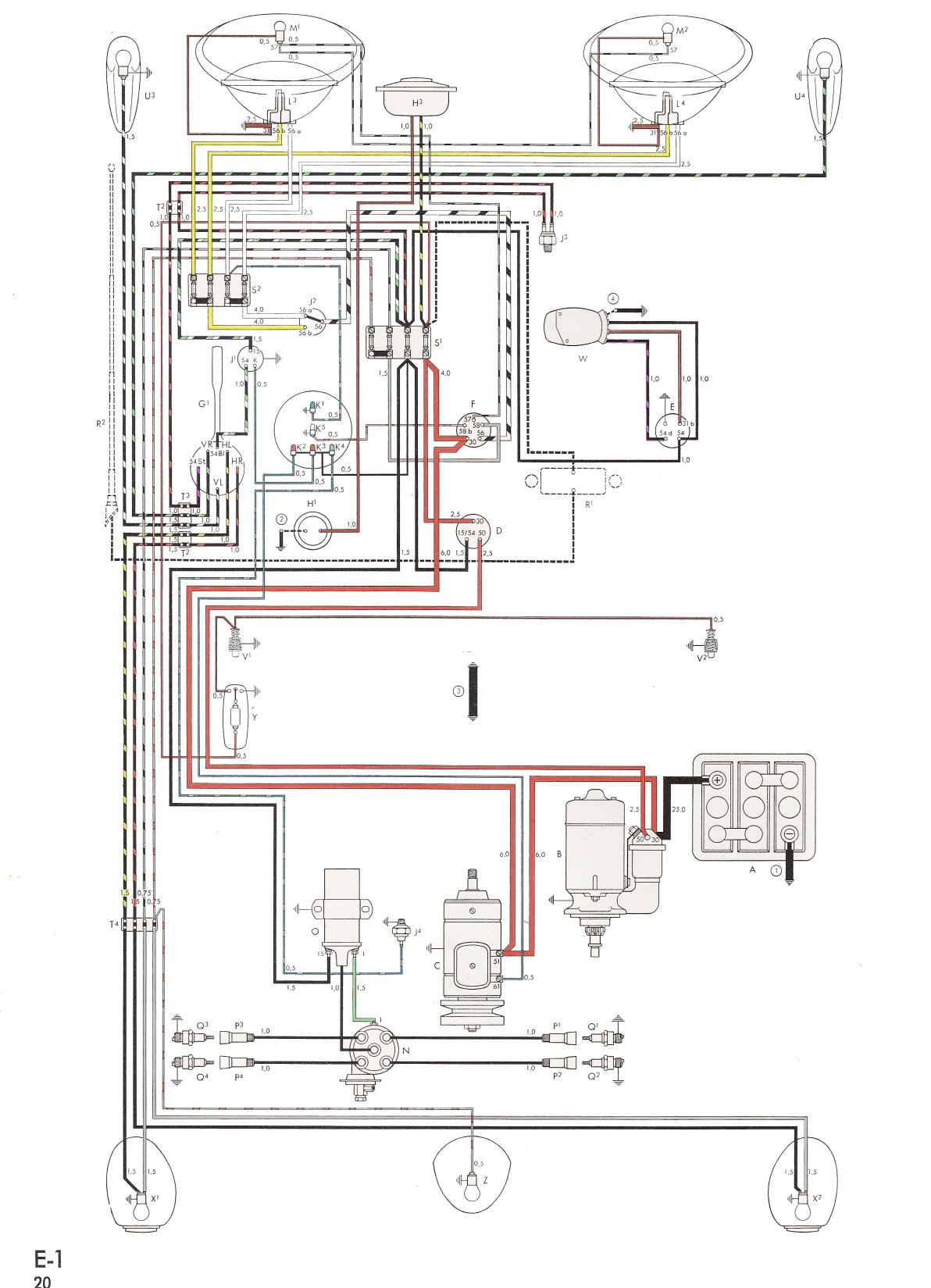 hight resolution of thesamba com type 1 wiring diagrams 1600cc vw engine diagram 1972 vw wiring diagram
