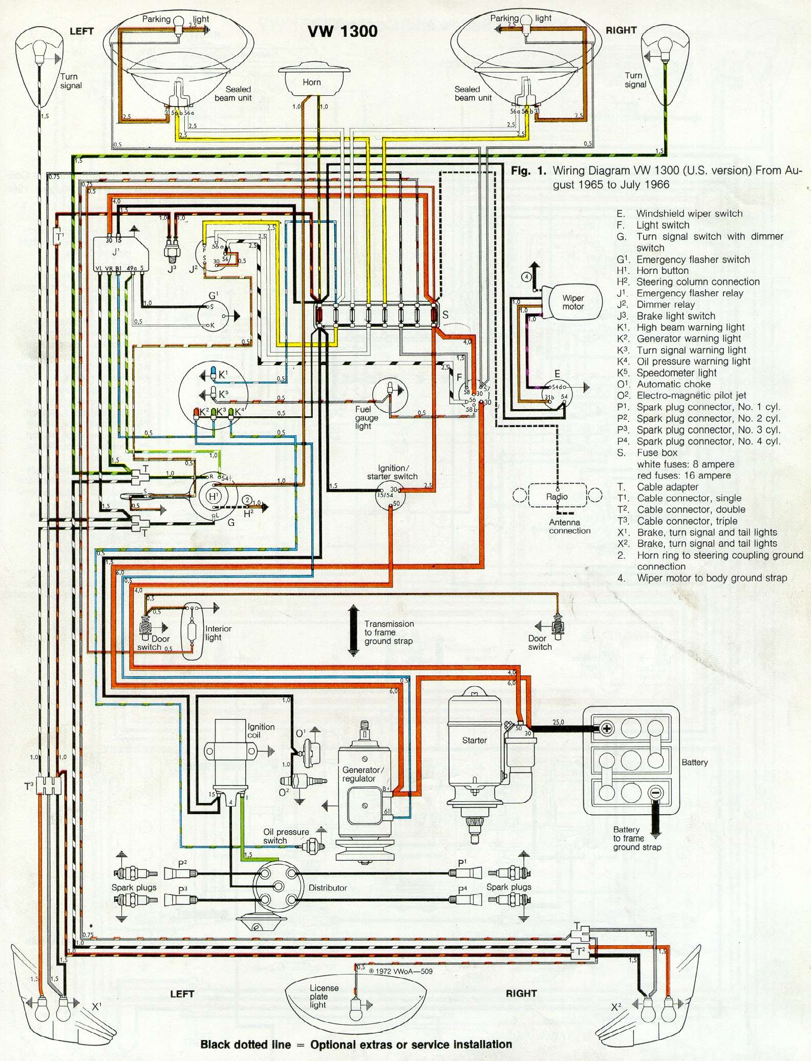 hight resolution of thesamba com type 1 wiring diagrams 2001 vw beetle fuse box battery fix vw 6 fuse